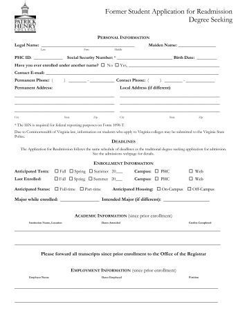 application for readmission in school