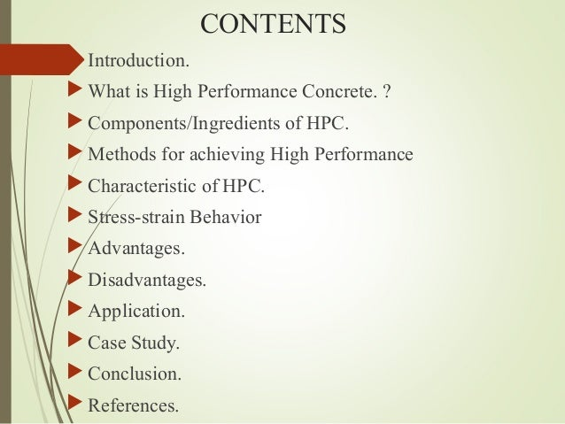 application of high performance concrete