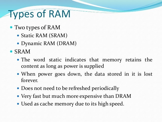 difference between dram and sram in terms of application